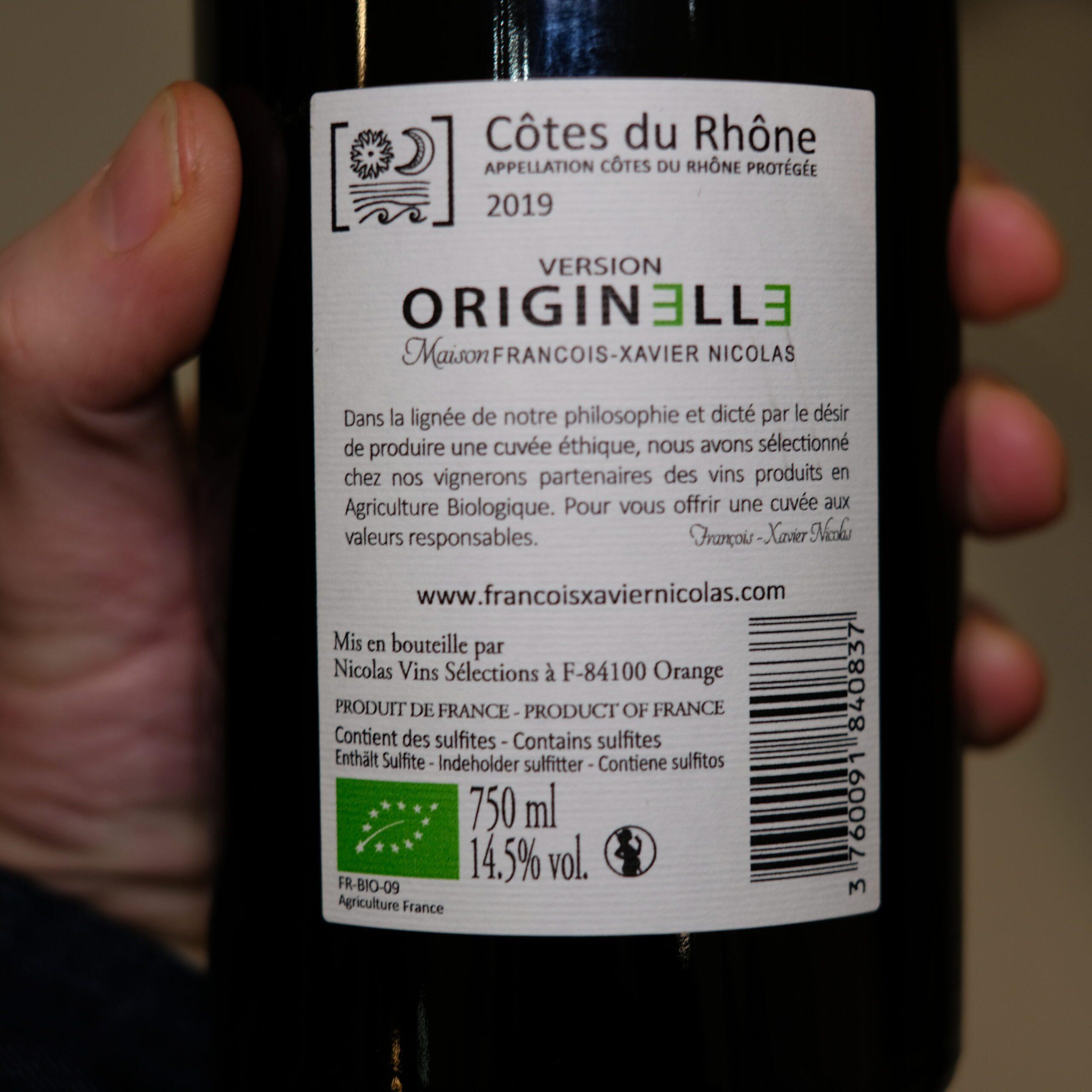 etiquette dos vin rouge côte du Rhône Originelle 2019
