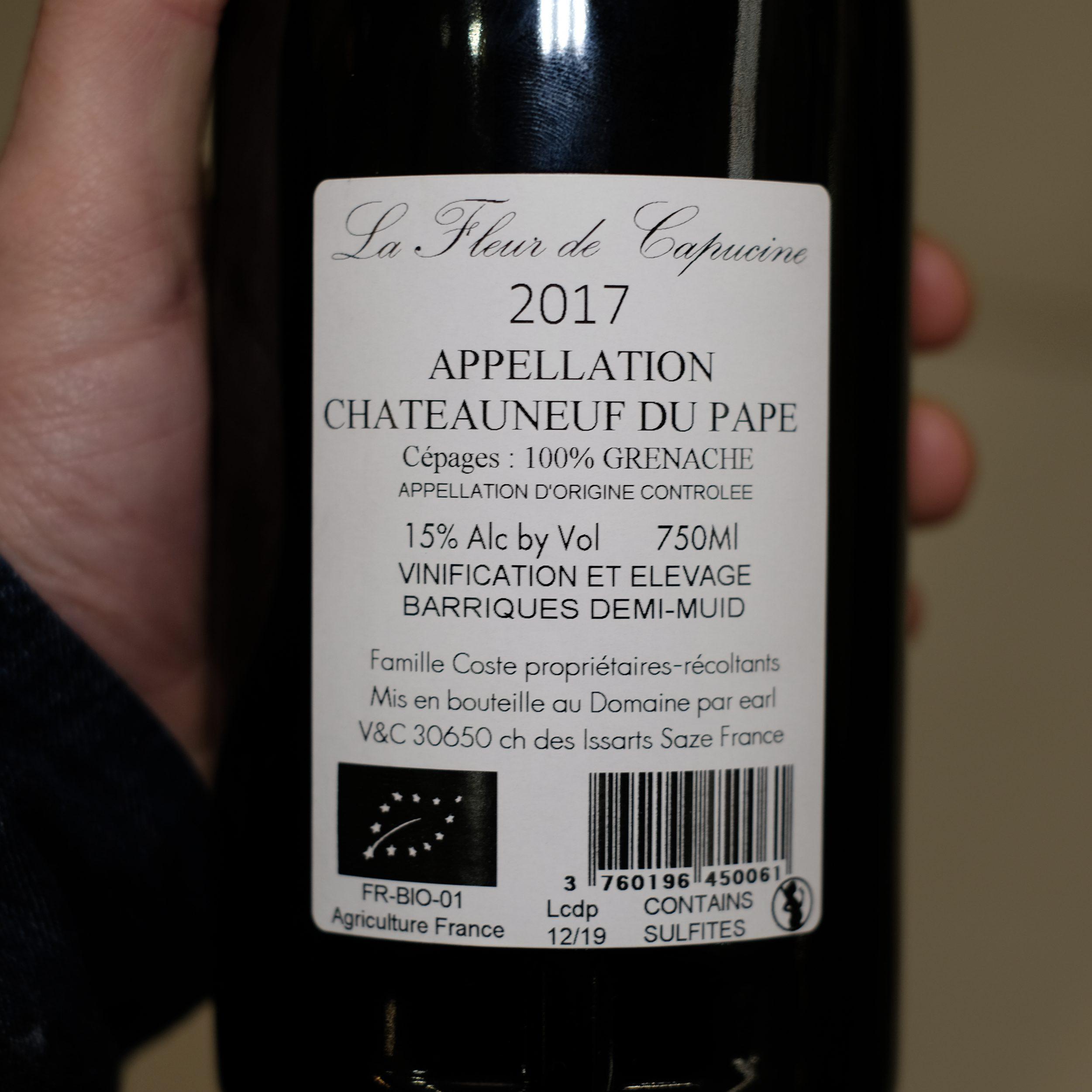 Etiquette verso Chateauneuf du Pape