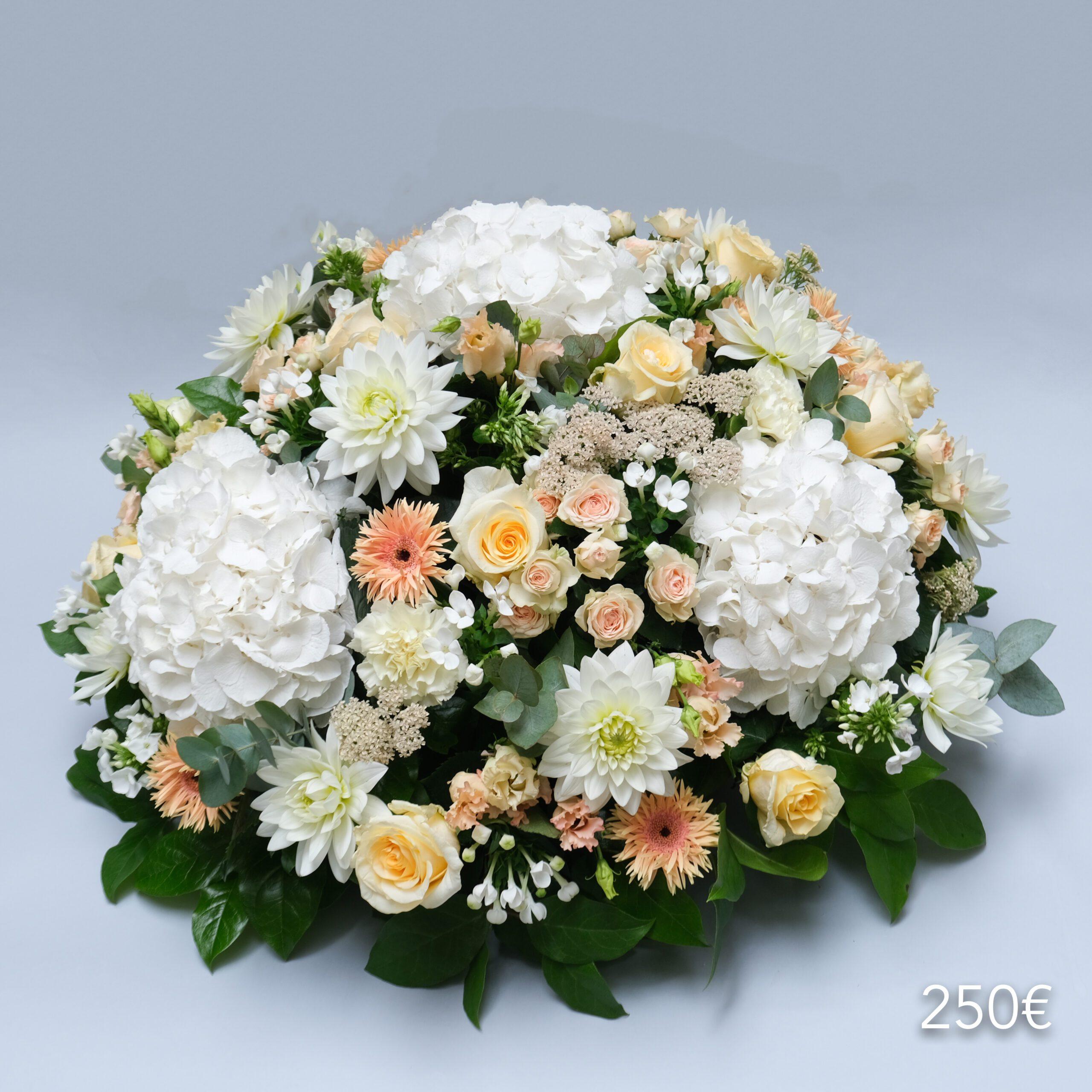 composition florale funérailles coussin atelier lavarenne 250€