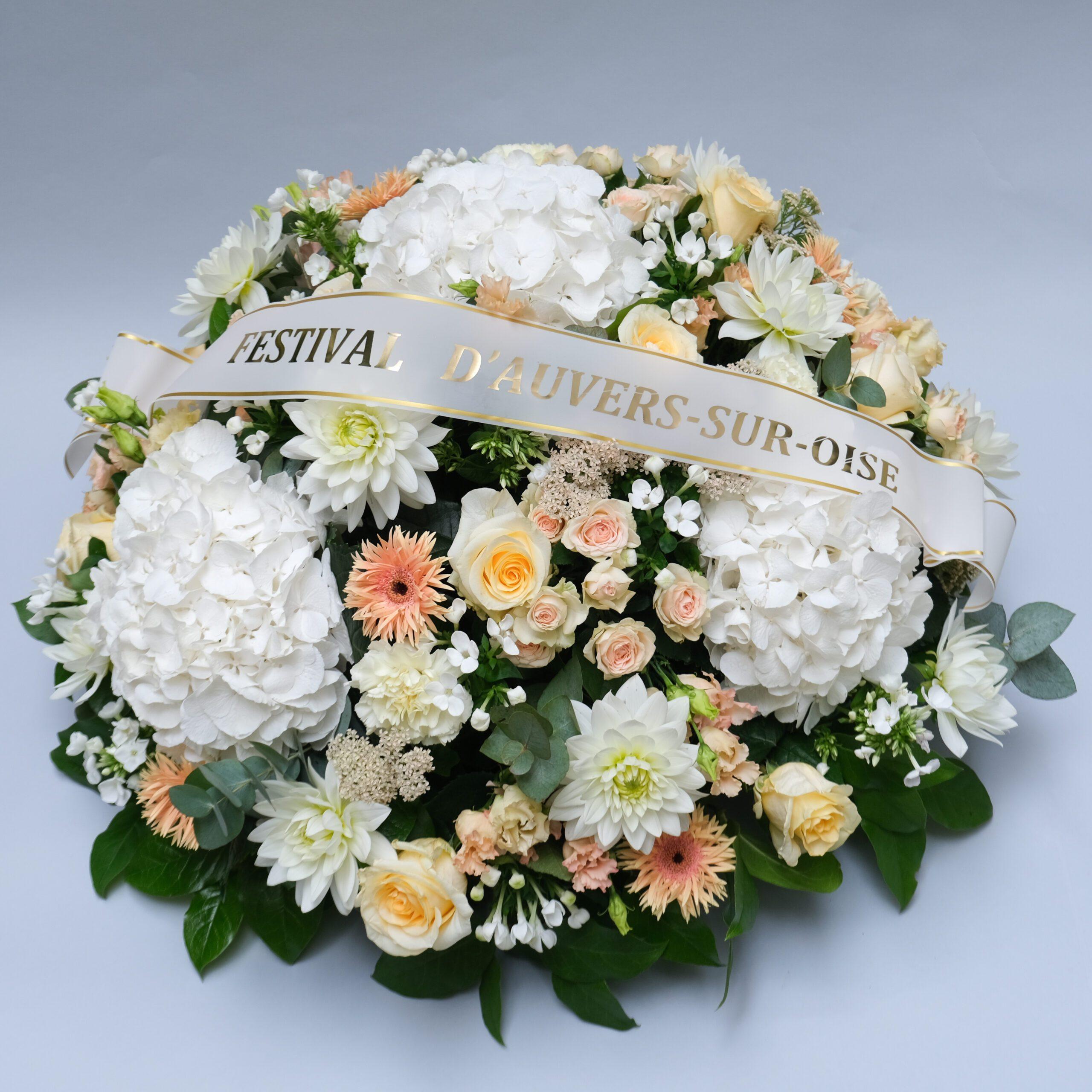 composition florale funérailles coussin avec bandeau atelier lavarenne