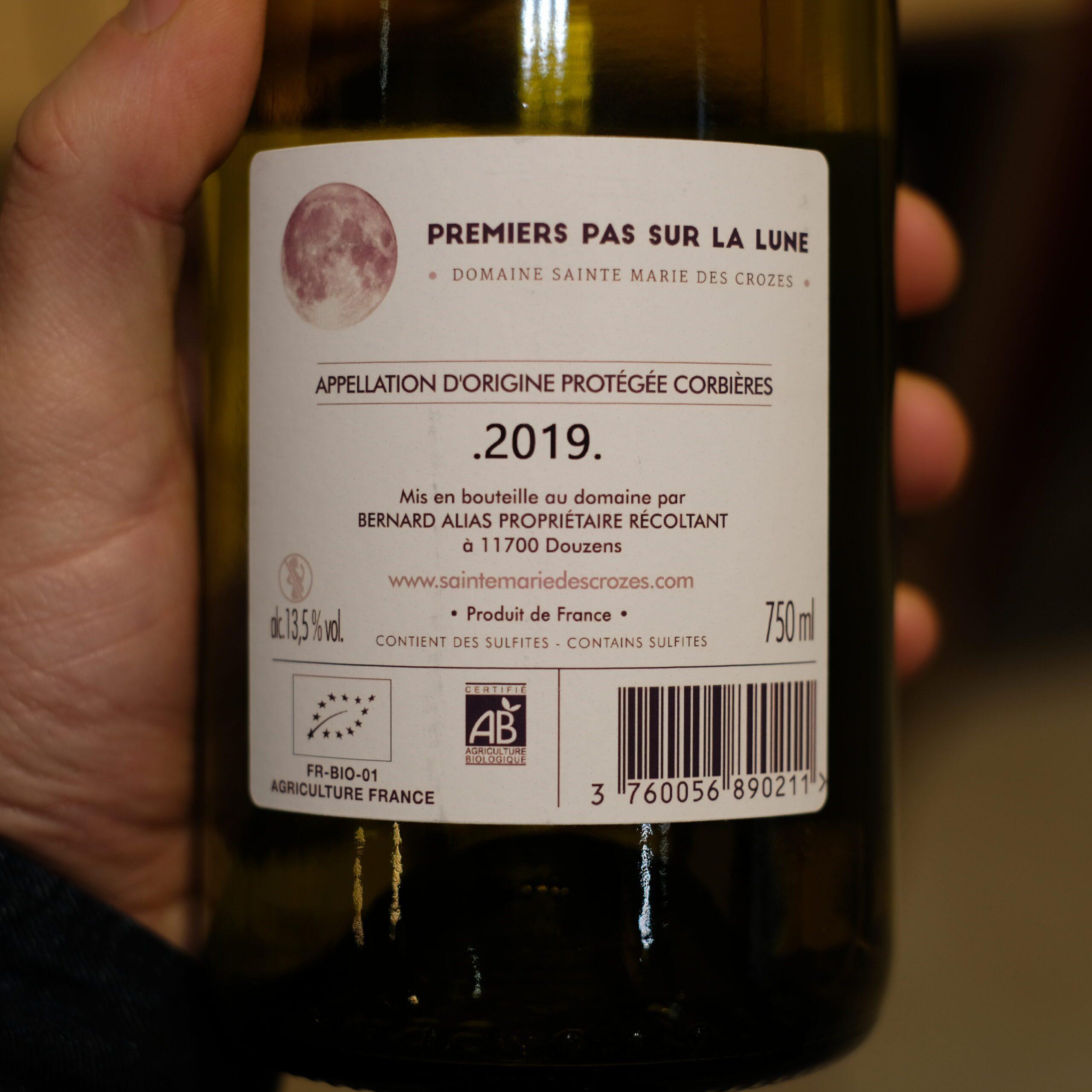 etiquette verso vin biologique 1er pas sur la lune ATELIER LAVARENNE fleuriste Lyon