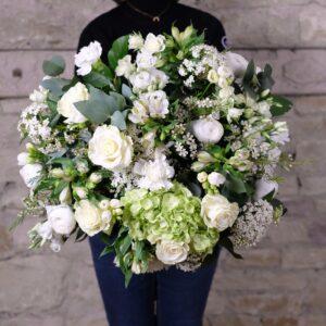 bouquet fleurs blanches elegance atelier lavarenne lyon 2