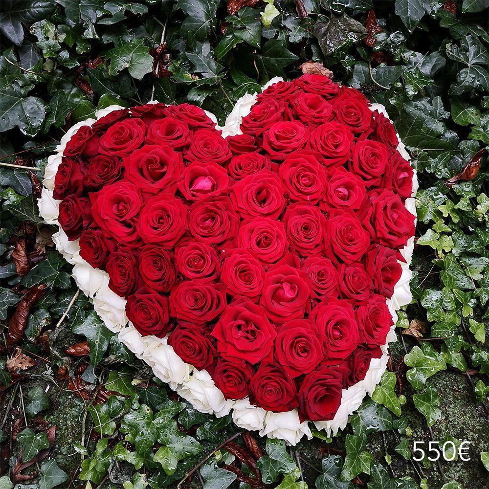 coussin coeur roses funéraille atelier lavarenne lyon
