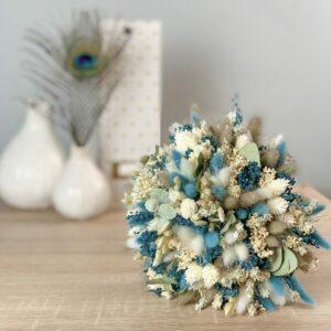Bouquet rond fleurs séchées turquoise