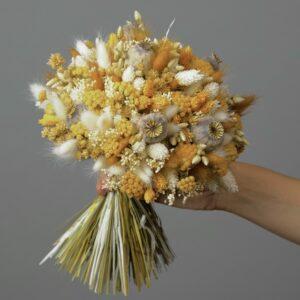 Bouquet rond fleurs séchées jaune