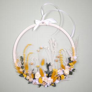 Tableau végétal tambour de broderie en fleurs séchées