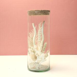 Tube fleurs séchées blanches
